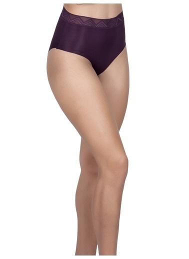 Cottonhill Desenli Lastikli Yüksek Bel Lazer Kesim Kadın Bikini Külot Mürdüm